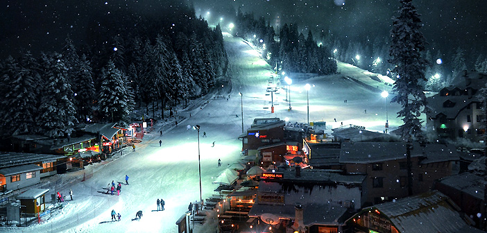 night skiing in borovets
